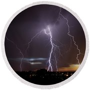 Lightning At Dusk Round Beach Towel