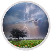 Lightning At Sunset After The Rain Round Beach Towel