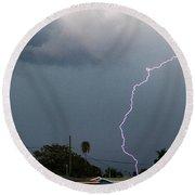 Lightning Bolt Illuminates The Sky Round Beach Towel