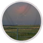 Lightning Bolt On A Scenic Route Round Beach Towel