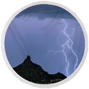 Round Beach Towel featuring the photograph Lightning Bolts And Pinnacle Peak North Scottsdale Arizona by James BO Insogna