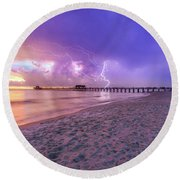 Lightning Naples Pier Round Beach Towel