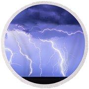 Lightning On The Plains Round Beach Towel