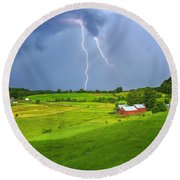Lightning Storm Over Jenne Farm Round Beach Towel