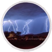 Lightning Over Laveen Round Beach Towel