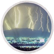 Round Beach Towel featuring the photograph Lightning Over Phoenix Arizona Panorama by James BO Insogna