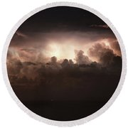 Lightning Over The Straits Of Messina Round Beach Towel