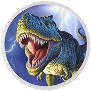 Lightning Rex Round Beach Towel