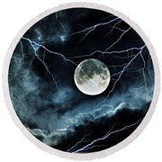 Lightning Sky At Full Moon Round Beach Towel