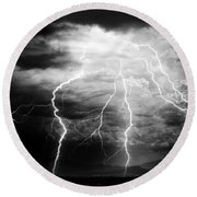 Lightning Storm Over The Plains Round Beach Towel