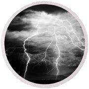 Lightning Storm Over The Plains Round Beach Towel by Joseph Frank Baraba