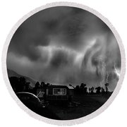 Lightning Storm Over The Snake River Ranch, Wyoming Round Beach Towel by Wernher Krutein