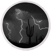 Lightning Storm Saguaro Fine Art Bw Photography Round Beach Towel