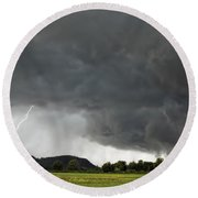 Lightning Strike On Tyringham Plain Round Beach Towel