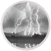 Lightning Striking Longs Peak Foothills 4cbw Round Beach Towel