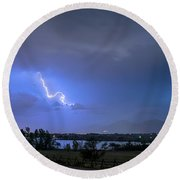 Round Beach Towel featuring the photograph Lightning Striking Over Boulder Reservoir by James BO Insogna