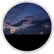 Lightning Sunset Round Beach Towel