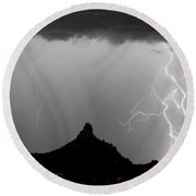 Lightning Thunderstorm At Pinnacle Peak Bw Round Beach Towel by James BO  Insogna