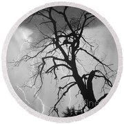 Lightning Tree Silhouette Portrait Bw Round Beach Towel