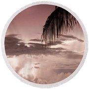 Lightning Under The Palms Round Beach Towel