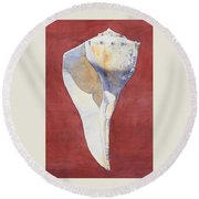 Lightning Whelk Conch I Round Beach Towel
