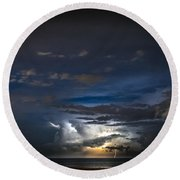 Round Beach Towel featuring the photograph Lightning's Water Dance by Steven Santamour