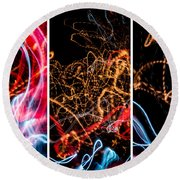 Lightpainting Triptych Wall Art Print Photograph 5 Round Beach Towel