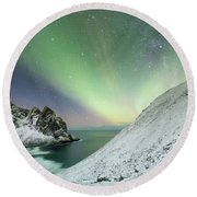 Lights Above Kvalvika Round Beach Towel