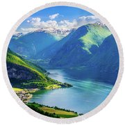 Lights And Shadows Of Sognefjord Round Beach Towel