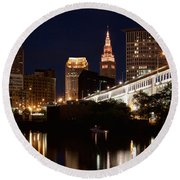 Lights In Cleveland Ohio Round Beach Towel