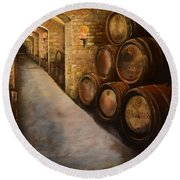 Lights In The Wine Cellar - Chateau Meichtry Vineyard Round Beach Towel