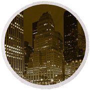 Lights Of 5th Ave. Round Beach Towel