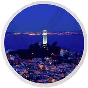 Lights Of Coit Tower Round Beach Towel