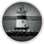 Lights Out-bw Round Beach Towel