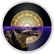 Round Beach Towel featuring the digital art Lightscape 24 by Robert Thalmeier