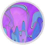 Round Beach Towel featuring the digital art Lignes En Folie - 03a by Variance Collections