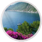 Ligurian Sea, Italy Round Beach Towel