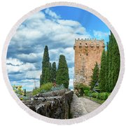 Like A Fortress In The Sky Round Beach Towel
