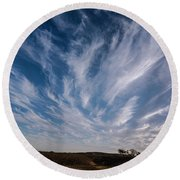 Like Feathers In The Sky Round Beach Towel