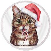 Cat Santa Christmas Animal Round Beach Towel