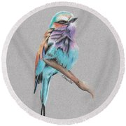 Round Beach Towel featuring the drawing Lilac Breasted Roller by Gary Stamp