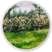 Lilac Bushes In Springtime Round Beach Towel by Michelle Calkins