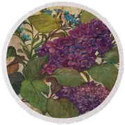 Lilac Dreams Illustrated Butterfly Round Beach Towel