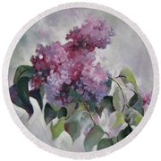 Round Beach Towel featuring the painting Lilac by Elena Oleniuc
