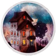 Round Beach Towel featuring the painting Lilac Hill by Mo T