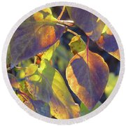 Lilac Leaves Round Beach Towel