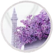 Lilac Tales Round Beach Towel by Iryna Goodall