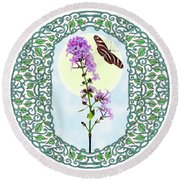 Lilac With Butterfly Round Beach Towel