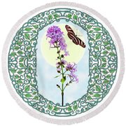 Lilac With Butterfly Round Beach Towel by Lise Winne