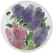 Lilacs And Bees Round Beach Towel